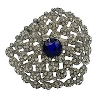 Mammoth Early 1930's Pot Metal and Clear and Sapphire Blue Dress Clip