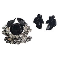 Weiss Black Enamel and Rhinestone Cocktail Pin and Matching Earring Set