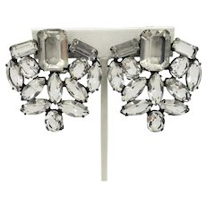 Art Deco Open Back Sparkling Crystal Earrings