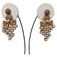 Luscious Faux Pearl Grape Earrings