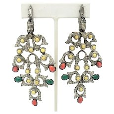 Dramatic Vintage Earrings with Clear Rhinestones, & Cream, Orange and Green Beads