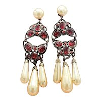 Vivacious Vintage Ruby Red Crystal and Faux Pearl Drop Earrings