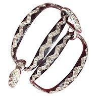 Art Deco Enamel and Rhinestone Snake Bracelet