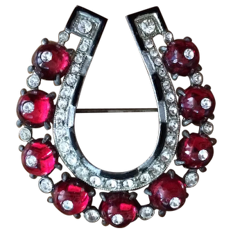 Vintage Lucky Horseshoe Brooch