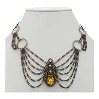 Multi-strand Yellow Crystal and Faux Pearl Czech Necklace