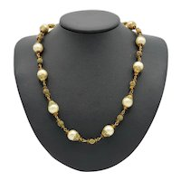 Early Haskell Lustrous Faux Pearl and Golden Amber Bead Necklace