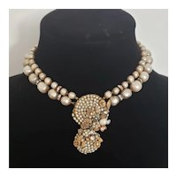 Signed Miriam Haskell Late 1940's Classic Faux Pearl Necklace