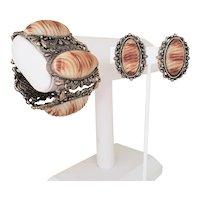 Wide 1950's Faux Shell Bracelet and Earring Set