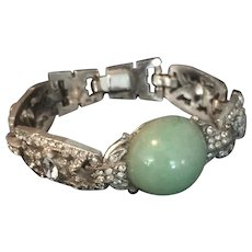Art Deco Evening Rhinestone & Faux Jade Bracelet