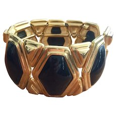 Sandra Miller Brown Bold  Black and Gold Bracelet