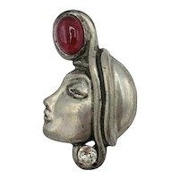 Glamorous Profile Figural Brooch Pin