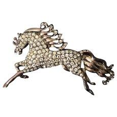 Eisenberg Pavé Crystal Horse Brooch