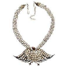 Victorian Prong Set Rhinestone Eagle Necklace