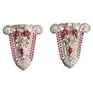 Intricate Pair of Art Deco Dress Clips