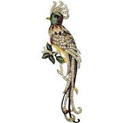 Classic Coro Sterling Enameled Cockatoo Bird Fur Clip