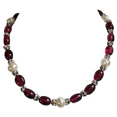 Faux Pearl, Ruby-Red and Rondelle Crystal Beaded Necklace