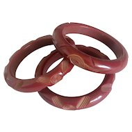 3 Carved Maroon Bakelite Bracelets