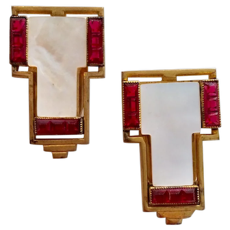 Pair of Ruby-Red Stone and Mother of Pearl Dress Clips