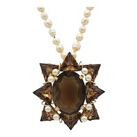 Tantalizing Topaz-Brown Crystal Pin Brooch with Long Rope Length Faux Pearl Necklace