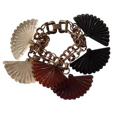 Carved Lucite Fan Bracelet