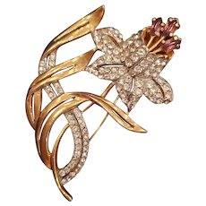 Golden Pavé Flower Pin with Purple Anthers Brooch