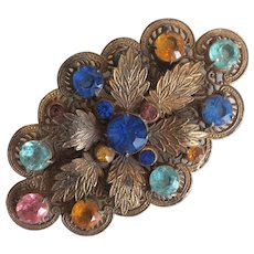 Delightful Filigree Leaf and Pastel Stone Czech Pin
