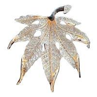 Reja Maple Leaf Rhinestone Fur Clip