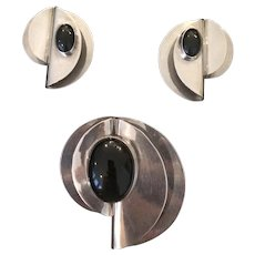 Modernist-style Sterling and Onyx TAXCO Mexican Brooch & Earrings Set