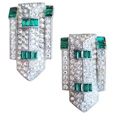 Clear and Green Art Deco Clip-on Earrings
