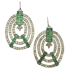 Art Deco Green and Clear Rhinestone Earrings