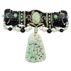 Barbara Natoli Witt Apple Jade and 14K beads Wearable Art Handwoven Choker Necklace