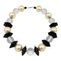 Faceted Black and White Bead and Faux Pearl Necklace