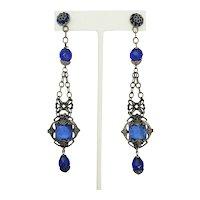 Delightful Dangling Blue Crystal and Filigree Earrings