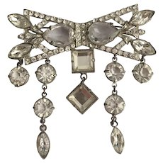 Dazzling Rhinestone Bow Pin with Dangles