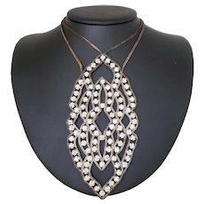 1920's French Prong Set Rhinestone Pendant Necklace