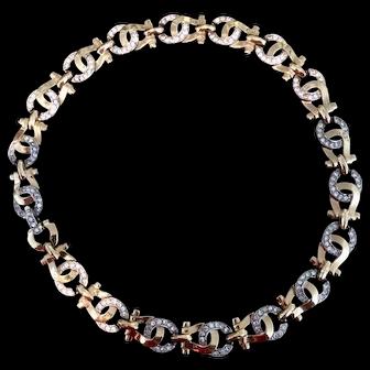Mazer Golden and Rhinestone Horseshoe Motif Necklace