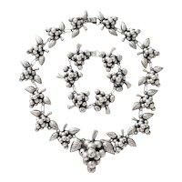 Vintage Sterling Grape Cluster Necklace and Bracelet Set