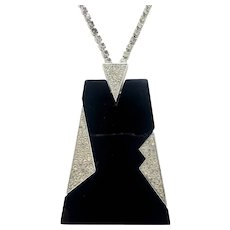 Trifari Art Deco Moderne Shiny Black and Clear Crystal Pendant Necklace