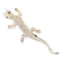 Sterling Crystal Rhinestone Lizard Brooch