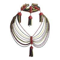 1920's Colorful Ball Chain Festoon Tassel Necklace and Bracelet Set