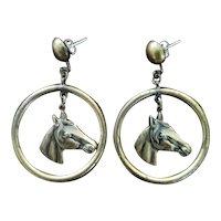 Vintage Horse Head Hoop Earrings