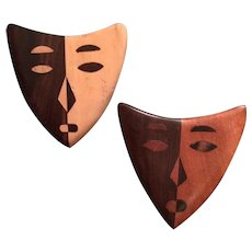 Wood Inlaid Pair of Dramatic Masks Pins - 50% OFF