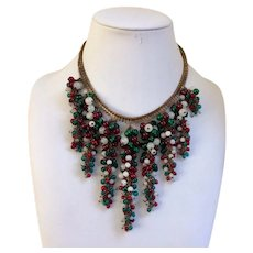 Miriam Haskell Christmas Glass Bead Grapes Necklace