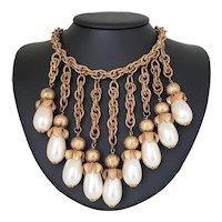 1940's Dangling Pearl Bib Necklace