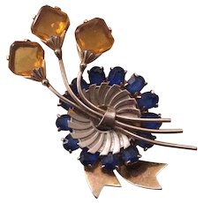 Retro Abstract Yellow and Blue Flower Pin