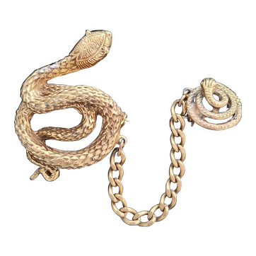 Vintage Double Snake Chatelaine Pin