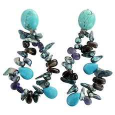 Turquoise, Mother of Pearl, Amethyst Clip-on Earrings