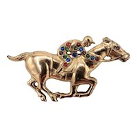 Golden Bejeweled Jockey and Horse Brooch Pin