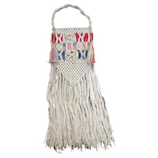 Circa 1900 Crochet Patriotic Red, White and Blue Flag Ribbon Purse