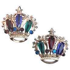 Pair of Sterling Crown Pins